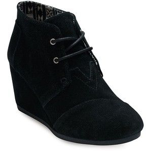 Toms One For One Desert Wedge Lace-Up Suede Booties