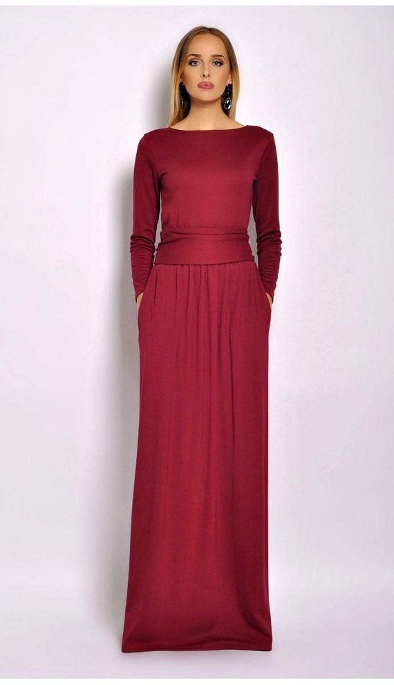 ce9cb43f2c Burgundy Maxi Dress  Round Neck Long Sleeves Pockets Sash Plain Long Dress