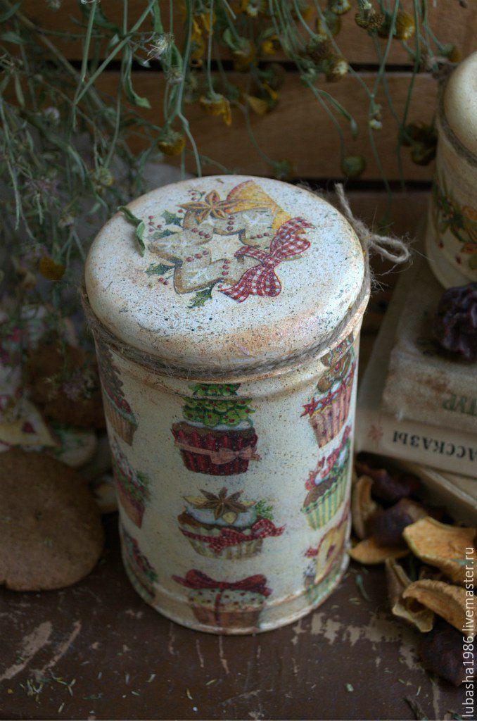 """Купить """"Миндальное печенье"""" жестяная банка, для дома,для кухни - желтый, кремовый, сладости, рождественские сладости"""