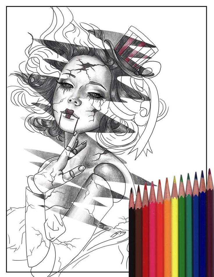 Broken Doll Coloring Page Carnival Printable Download JPG Adult