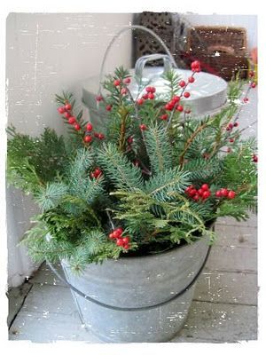 Bucket full of green and red - so simple and inexpensive. Would be so pretty down at barn at Christmas!! I so want to have something at Christmas in the barn so we can decorate it! It would be absolutely beautiful!
