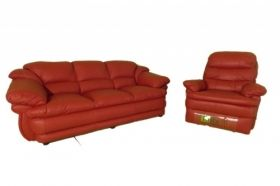 Ruby Leather Sofa and Recliner