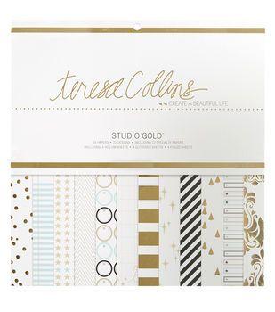 Teresa Collins Studio Gold 12X12 Paper Pad