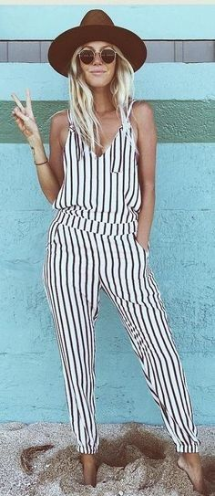 summer outfits  Brown Hat + White Striped Jumpsuit