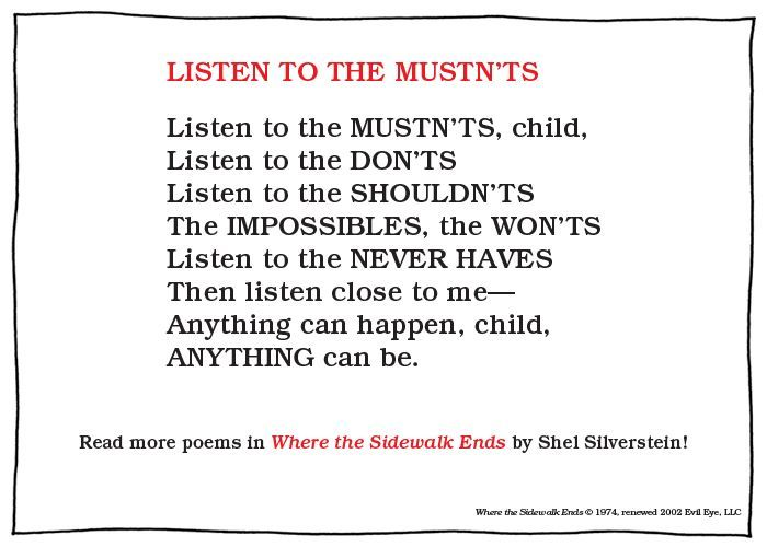 11 Motivational Quotes From Shel Silverstein: Where The Sidewalk Ends Quotes. QuotesGram
