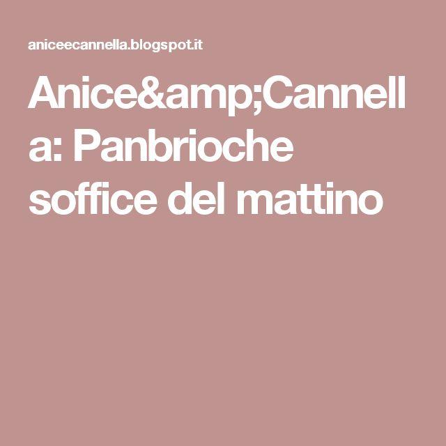 Anice&Cannella: Panbrioche soffice del mattino