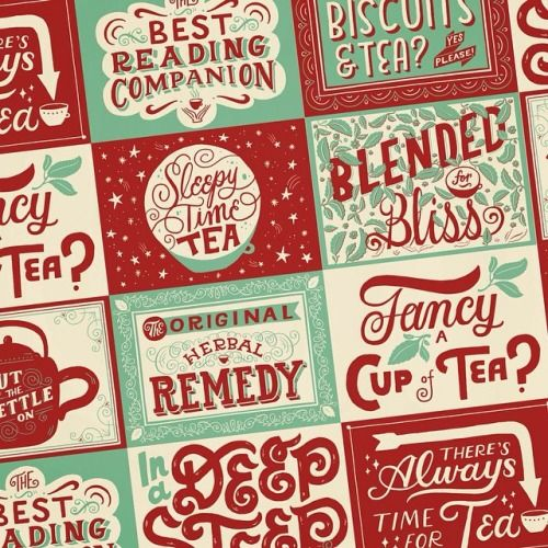 I've been drinking crazy amounts of tea. So I'm happy to finally get around to working on a tea lovers pattern. Soon to be a tin, mugs, wrapping paper…
