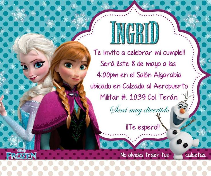 25+ best ideas about Invitaciones Cumpleaños Frozen on Pinterest Invitaciones frozen