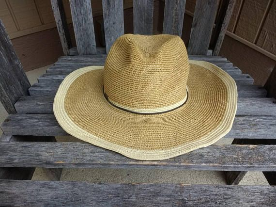 be09e2e7f2820 Vintage Scala Natural Woven Sun Hat Women s Floppy Sun Hippie Visor  Handcrafted Wire Rim Brim 100% Paper One Size