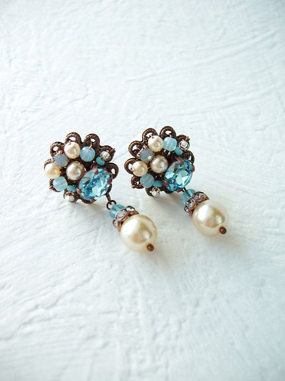 Gift for Her. Aqua Blue Earrings. Rhinestone Jewelry. Blue Rhinestone Earrings. Stud Earrings. Gift for Fiance. Blue Jewelry. Birthday Gifts by mdmButiik