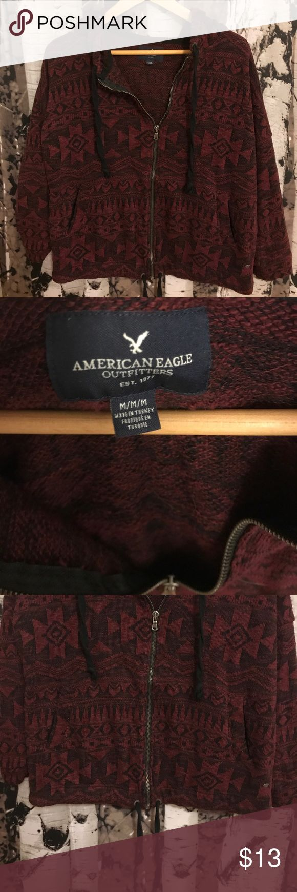 American Eagle Zip Up Hoodie Aztec Pattern Maroon Dark maroon zip up American Eagle hoodie. Only worn a few times, in good condition. From a smoke free home! American Eagle Outfitters Tops Sweatshirts & Hoodies
