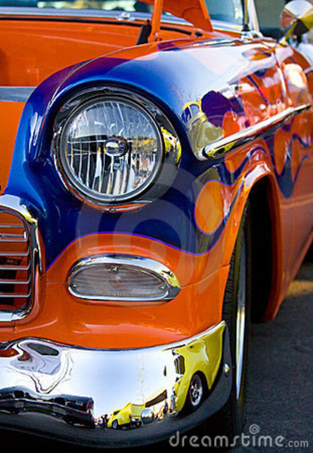 Old Hot Rods | Classic collector car. Vintage hot rod at a car show. A detail view of ...