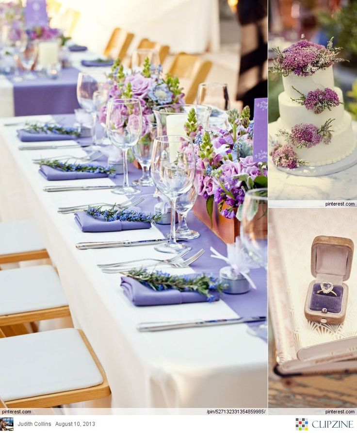 ♡ Lavender #wedding #Table ... For wedding ideas, plus how to organise an entire wedding, within any budget ... https://itunes.apple.com/us/app/the-gold-wedding-planner/id498112599?ls=1=8 ♥ THE GOLD WEDDING PLANNER iPhone App ♥  For more wedding inspiration http://pinterest.com/groomsandbrides/boards/ photo pinned with love & light, to help you plan your wedding easily ♡