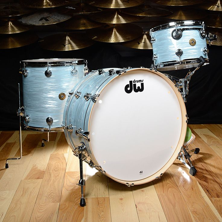 DW Jazz Series Maple/Gum 13/16/24 3pc Drum Kit Pale Blue Oyster