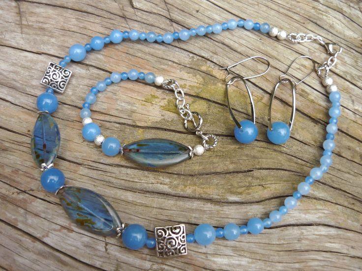 Jade blue and Czech glass set - necklace, bracelet, earrings - unique