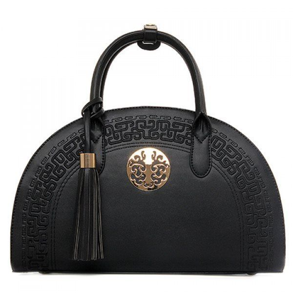 Gorgeous Tassel Faux Leather (PU) Black Handbag Chinese Embossing Tote Bag NEW #Unbranded #Vintage