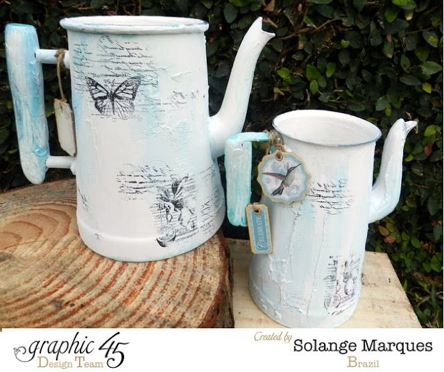 Solange Marques: Altered Bottles and Teapots- Graphic 45 stamps and chipboard tags