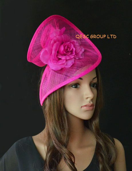 Fuchsia hot pink Sinamay fascinator hat in SPECIAL shape with silk flower for Melbourne Cup,Ascot Races,Wedding,Kenticky Derby.-in Hair Accessories from Women's Clothing & Accessories on Aliexpress.com | Alibaba Group