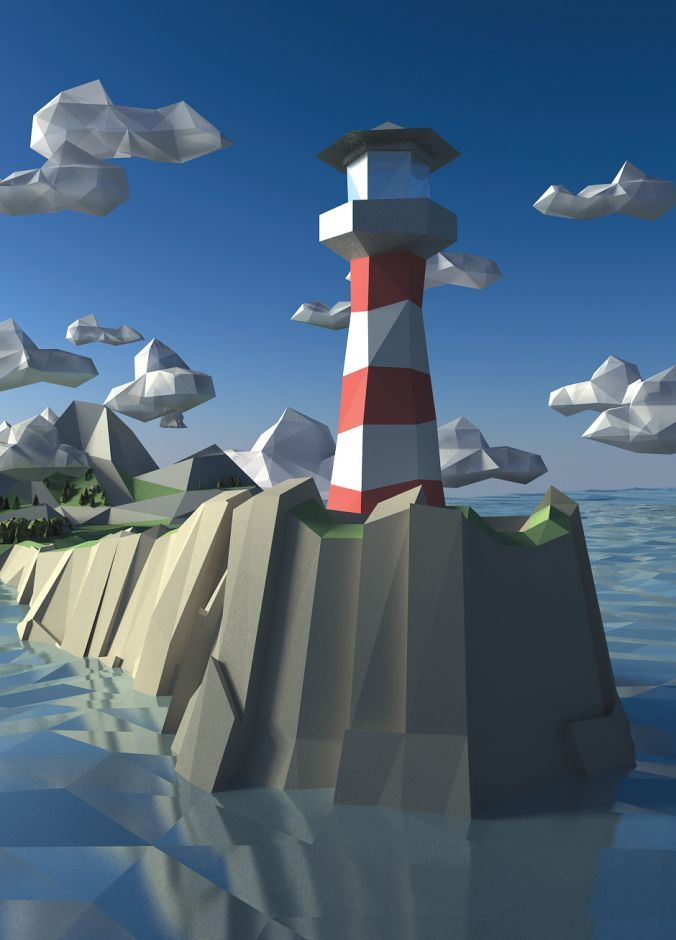Lowpoly, abstract, Lighttower, Landscape