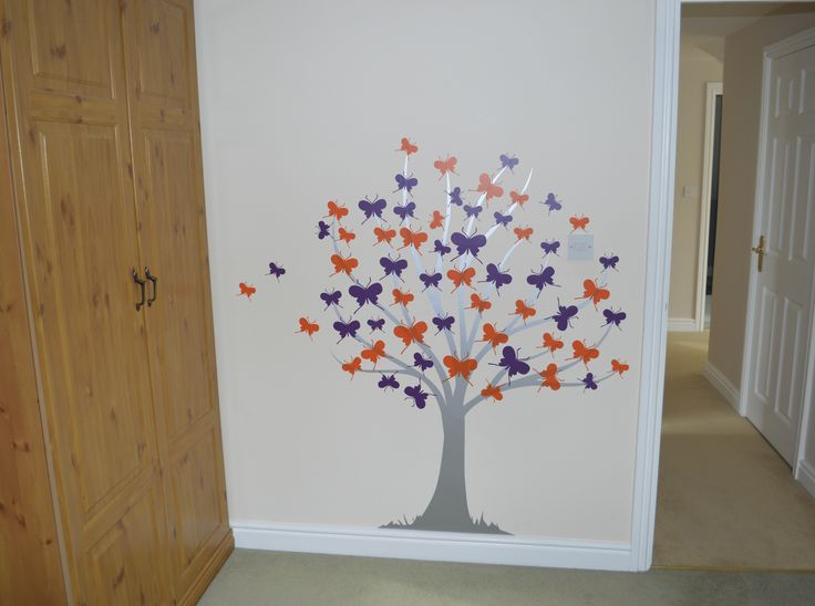 Butterfly tree wall sticker requested by customer - manufactured and fitted by Aspect Wall Art (This particular design is not available on our website but custom requests can be made via our contact page)