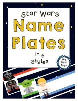 Star Wars Themed Name  PlatesThese Star Wars name plates are just what your classroom needs!  They will add a finishing touch to any Star Wars classroom.  There are 6 different designs to choose from!  Each design offers 3 name plates per page!  Designs include:Luke SkywalkerHan SoloC-3PODarth VaderYodaPrincess LeiaThere are 3 name plates per page for endless design opportunities!