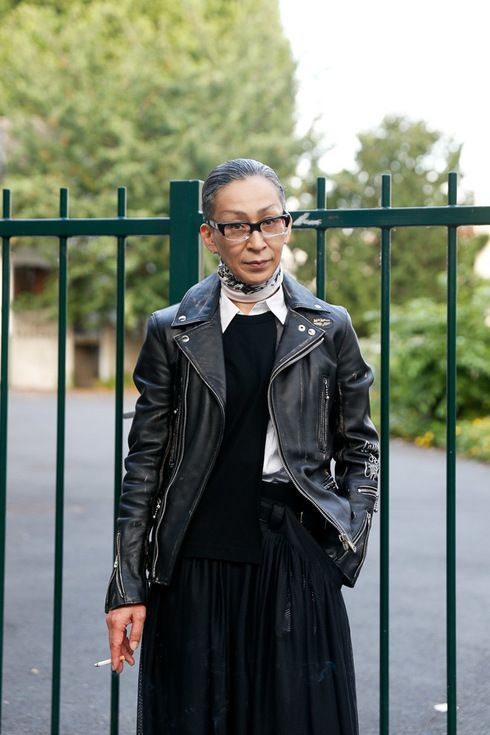 Biker jacket with black dress and neck scarf   aging gracefully