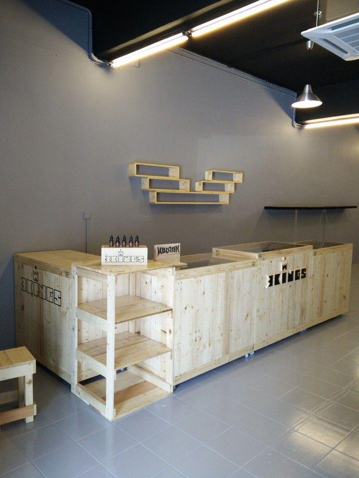 self-installed pallet shop counter