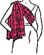 Scottish Highland Sash #1 - Clanswoman The sash is worn over the right shoulder across the breast and is secured by a pin or small brooch on the shoulder.