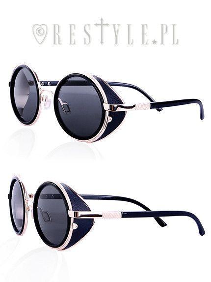 WARRIOR BLACK Round steampunk sunglasses Vintage