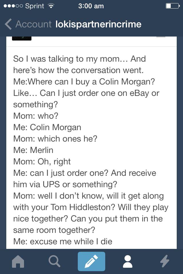 Merlin and Tom hiddleston tumblr funny