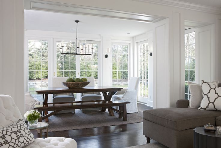 Marianne Jones: Gorgeous dining room nook off of living room. Dining room with iron linear chandelier ...