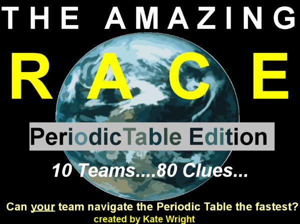 Periodic Table Review Game Activity for the whole class!  Divide kids into 10 teams (2-3 per team) and they will visit 80 clues about the Periodic Table.  Everyone is involved and racing to beat the other teams to the finish line!