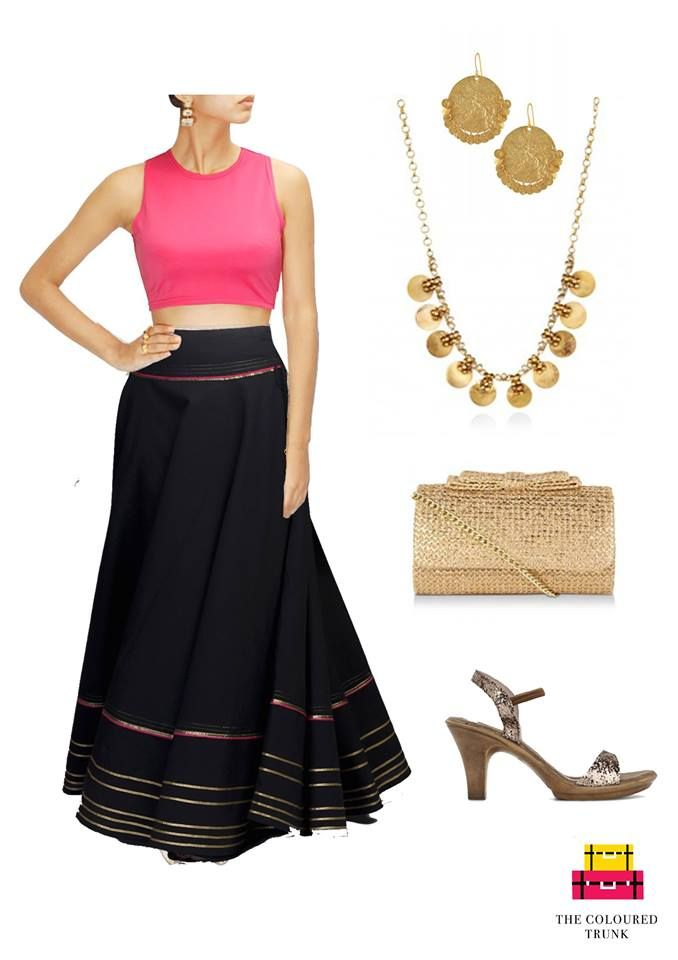 There are so many ways to wear a crop top - here's one for an ethnic look!  Crop top: #Neha Taneja  Skirt: #Fabindia Earrings: #Amrapali Jewels Coin Necklace: #Neelum Narang Bow detailed clutch: #AvecAmour Shoes: #Catwalk #TCTSIGNATURELOOKS FOR WOMEN  #TCT #TheColouredTrunk