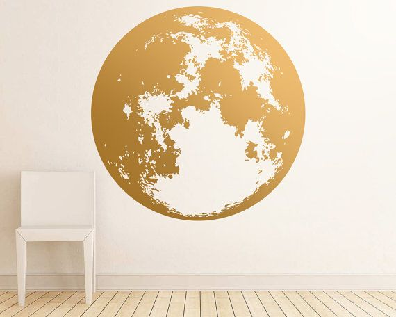 Moon Wall Decal  Gold Wall Decals Unique by KennaSatoDesigns