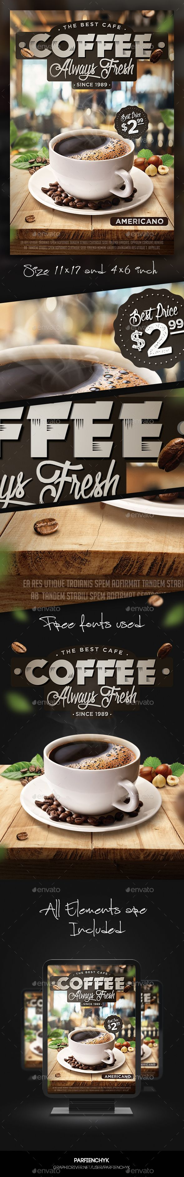 Coffee Flyer Template - PSD Template • Only available here ➝ http://graphicriver.net/item/coffee-flyer-template/13909784?ref=pxcr