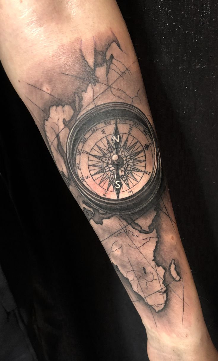 @westend_tattoo #westendtattooandpiercing #tattoo #arm tattoo #compass tattoo #map tattoo