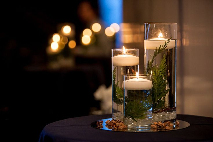 Pinterest Winter Wedding Centerpieces: These Are Stunning- With Purple Candles Instead?