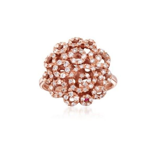 """Roberto Coin  """"Mauresque"""" Diamond Cluster Ring. Size 6.5, .66ct t.w. ($5,000) ❤ liked on Polyvore featuring jewelry, rings, roberto coin jewelry, birthday rings, roberto coin, studded jewelry and cluster ring"""