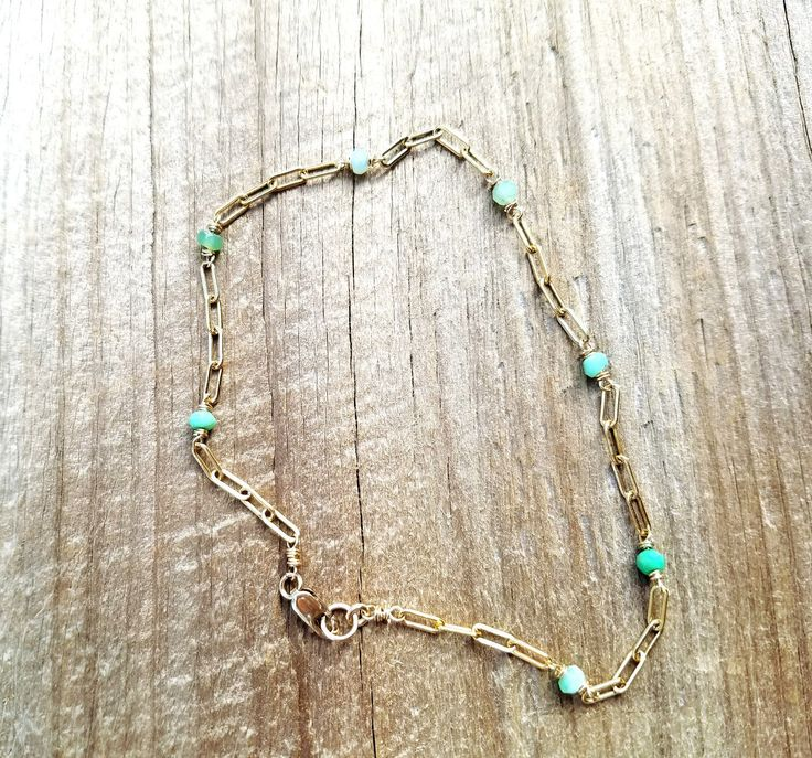 Hippie Beach Anklet Gold Anklet Boho Ankle Bracelet Body Jewelry Gold Beaded Gemstone Chain Anklet Wire Wrap Ankle Chrysoprase Body Jewelry by NatalieCara on Etsy