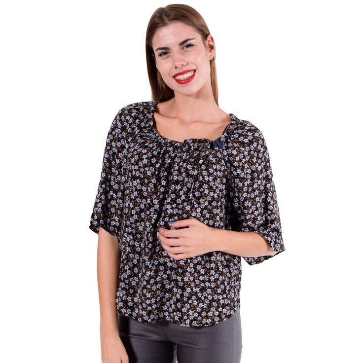 ATTRATTIVO Γυναικείο φλοράλ μακρυμάνικο πουκάμισο μπλούζα