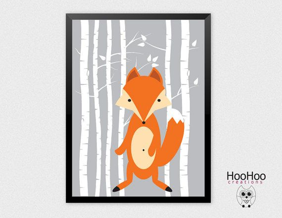 Fox printable Birch tree  Fox Woodland Animal by HooHooCreations