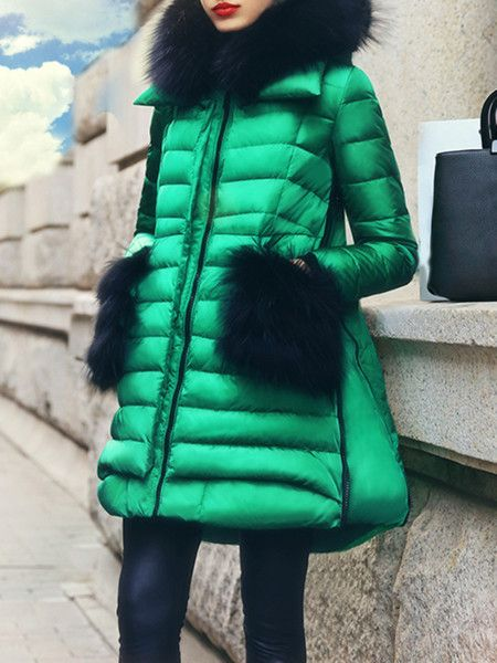 Green Winter White Goose Feather Down Coat