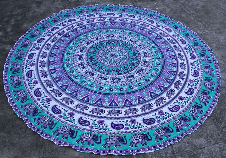 Purple Blue Elephant Round Mandala Tapestry