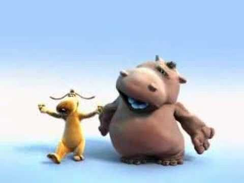 It's a singing hippopotamus, animated and with an animated friend who seems to be dancing. Happy Hippo The Lion Sleeps Tonight
