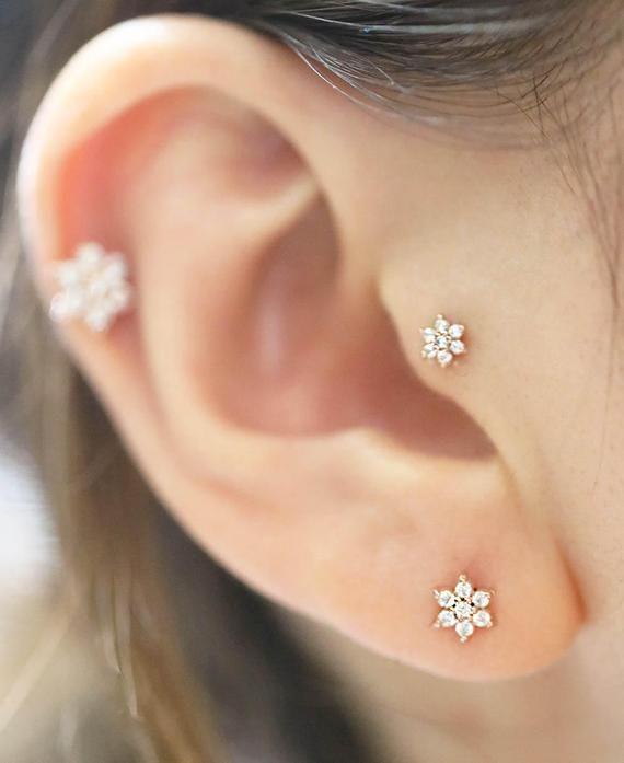 2336961645bca 14K Lovely Flower Cartilage Earring/Tragus Earring/Tragus stud/Helix ...