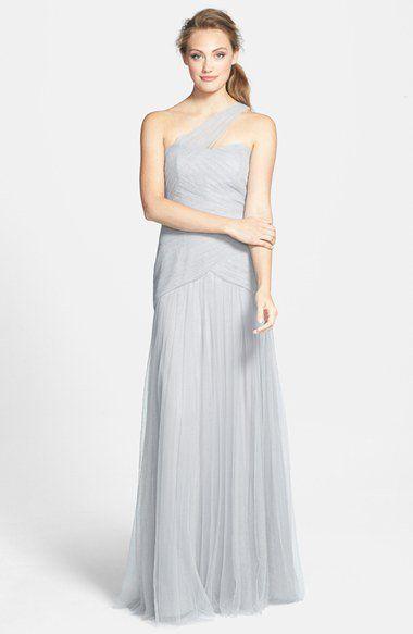Monique Lhuillier Bridesmaids Pleated One-Shoulder Tulle Trumpet Gown   Nordstrom
