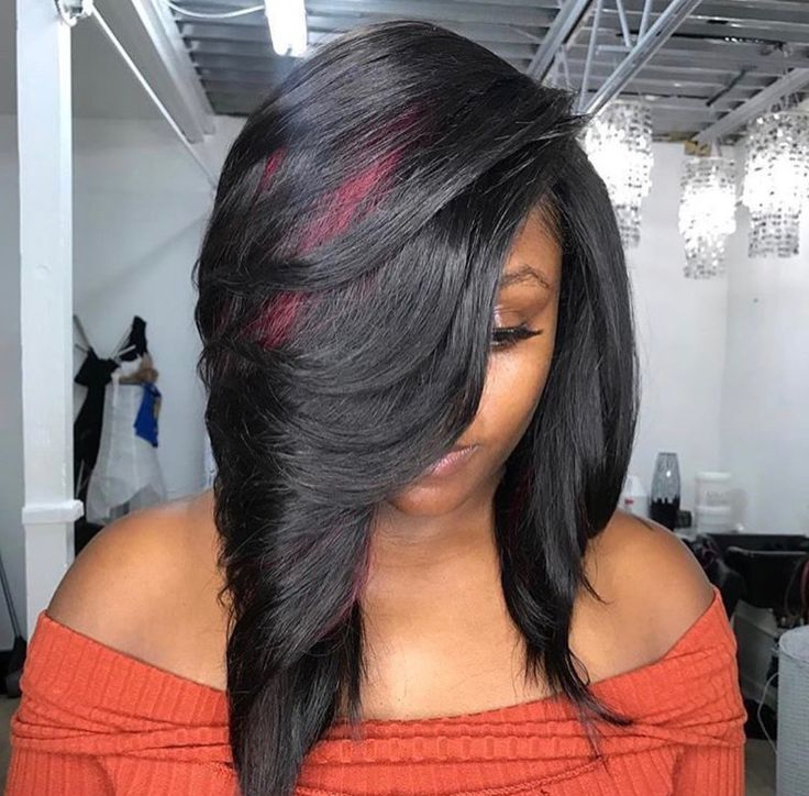 Feathered cut sew in with hint of cherry!    Looking for 360 frontals? Visit our website and shop now for frontals, closures, wigs and more!   #laceclosure #lacefrontal #360frontal #sewinweave     Photo Credit: @dora95th on IG