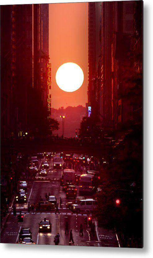 New York City Metal Print featuring the photograph Manhattanhenge 42nd Street by Jonathan Steele