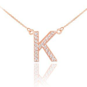 Rose gold and diamond initial K necklace