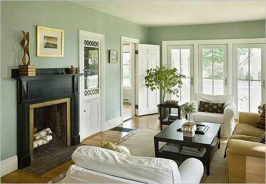 Sage Green And White Living Room